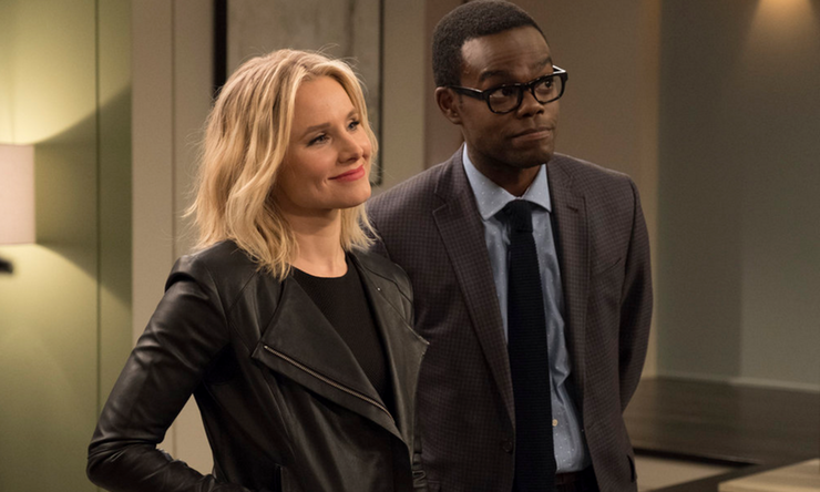 Kristen Bell as Eleanor Shellstrop and William Jackson Harper as Chidi in The Good Place