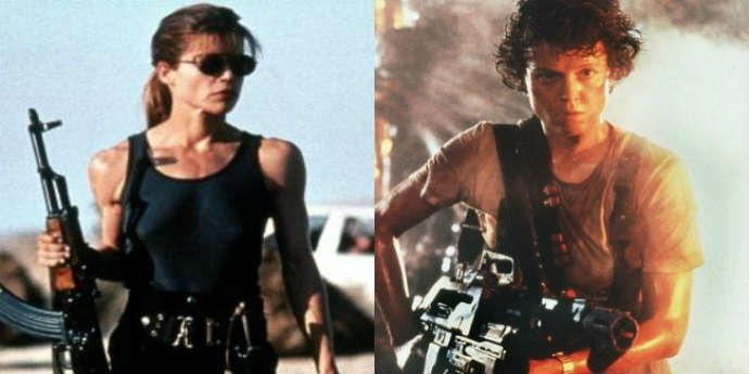 Photo of Linda Hamilton from Terminator 2: Judgement Day, and Sigourney Weaver from Aliens