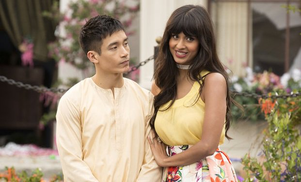 Manny Jacinto as Jianyu Li and Jameela Jamil as Tahani in The Good Place