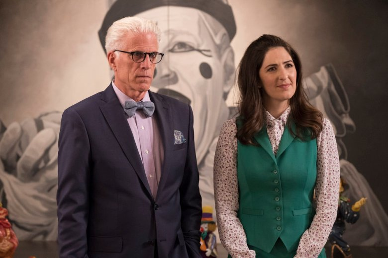 Ted Danson as Michael and D'Arcy Carden as Janet in The Good Place