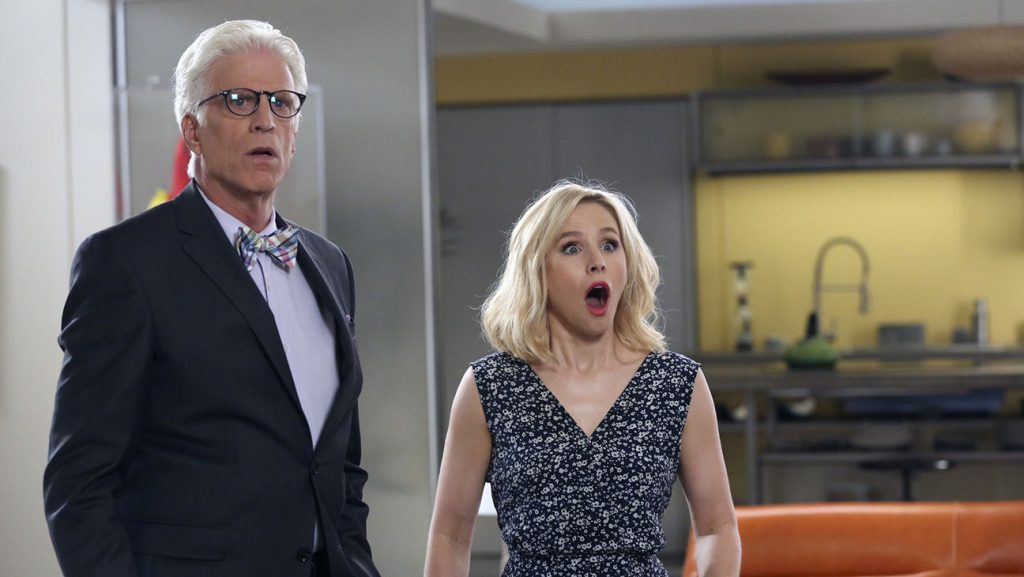 Ted Danson as Michael and Kristen Bell as Eleanor Shellstrop in The Good Place