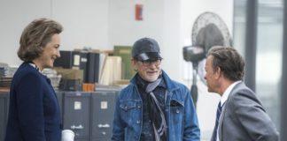 Meryl Streep, Steven Spielberg, and Tom Hanks on the set of The Post