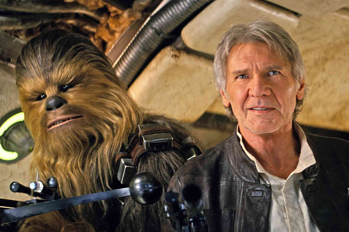 Chewbacca and Han Solo in The Force Awakens