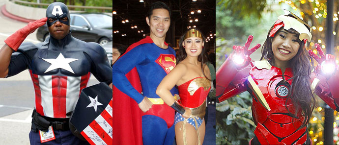 Black Captain America, Asian Superman and Wonderwoman, and Asian Female Iron Man