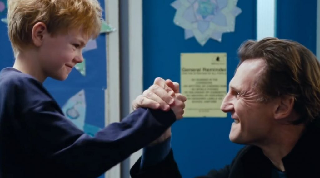 Thomas Sangster and Liam Neeson