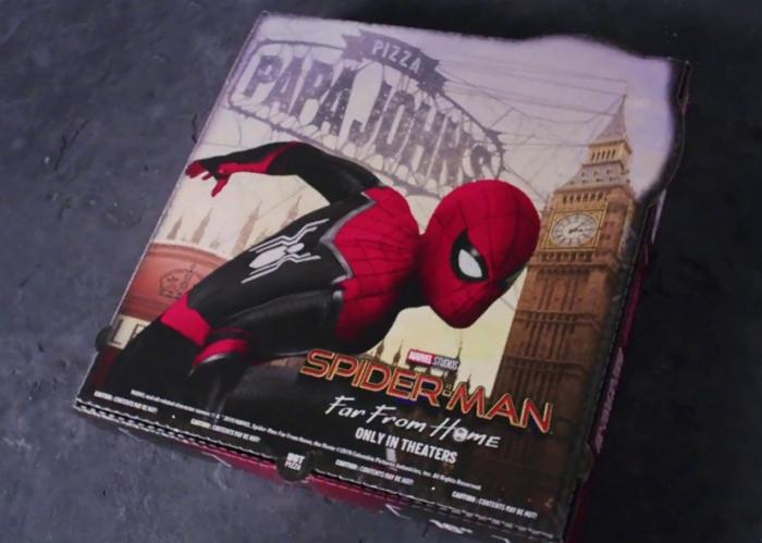 Spider-Man adorns a Papa John's pizza box.