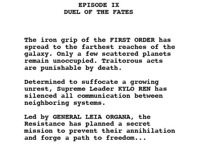 Colin Trevorrow S Star Wars Episode 9 Script Duel Of The Fates Film Goblin